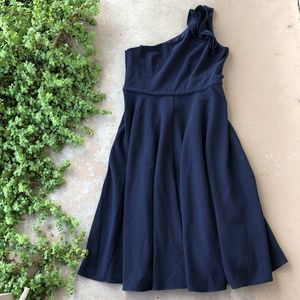 Eliza J Ruffle One Shoulder Fit & Flare Dress Navy